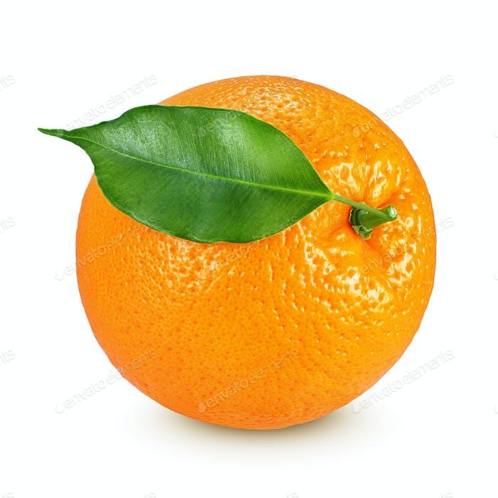 Whole orange isolated on white background
