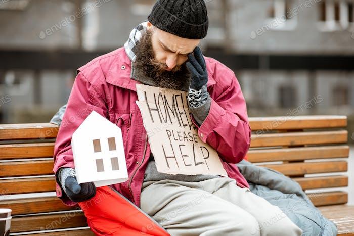 Homeless begging a shelter for living