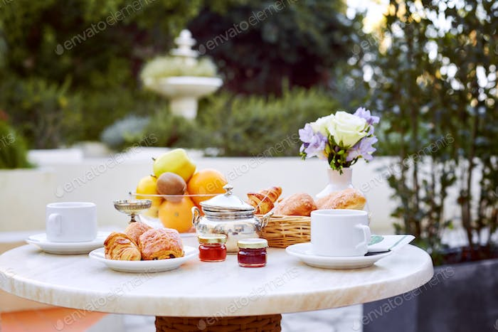 A romantic Breakfast is served on the terrace