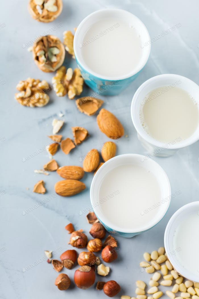 Assortment of organic non dairy vegan milk