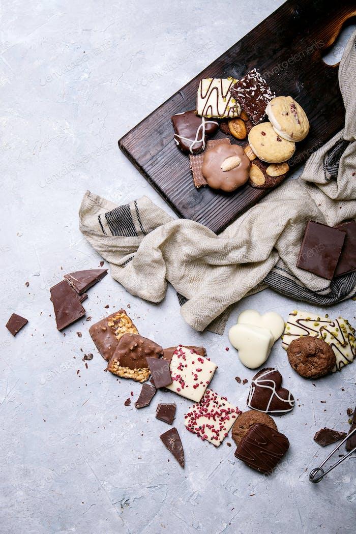 Dark chocolate and candy