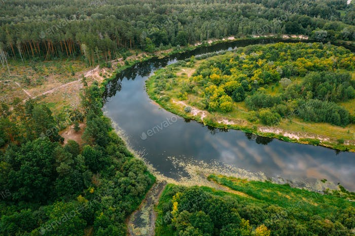 Aerial View Green Forest And River Landscape In Spring Evening. Top View Of Beautiful European