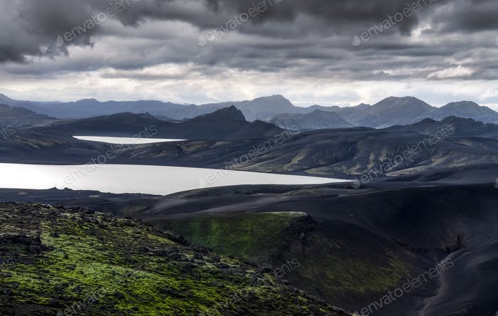 Volcanic landscape with mountains and lakes in Iceland