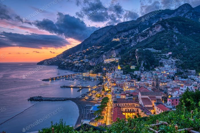 Dusk in Amalfi on the coast of the same name