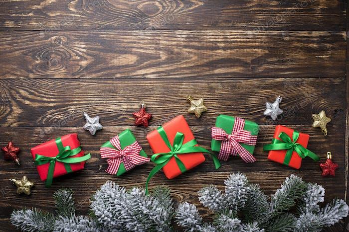 Christmas gift boxes and tree