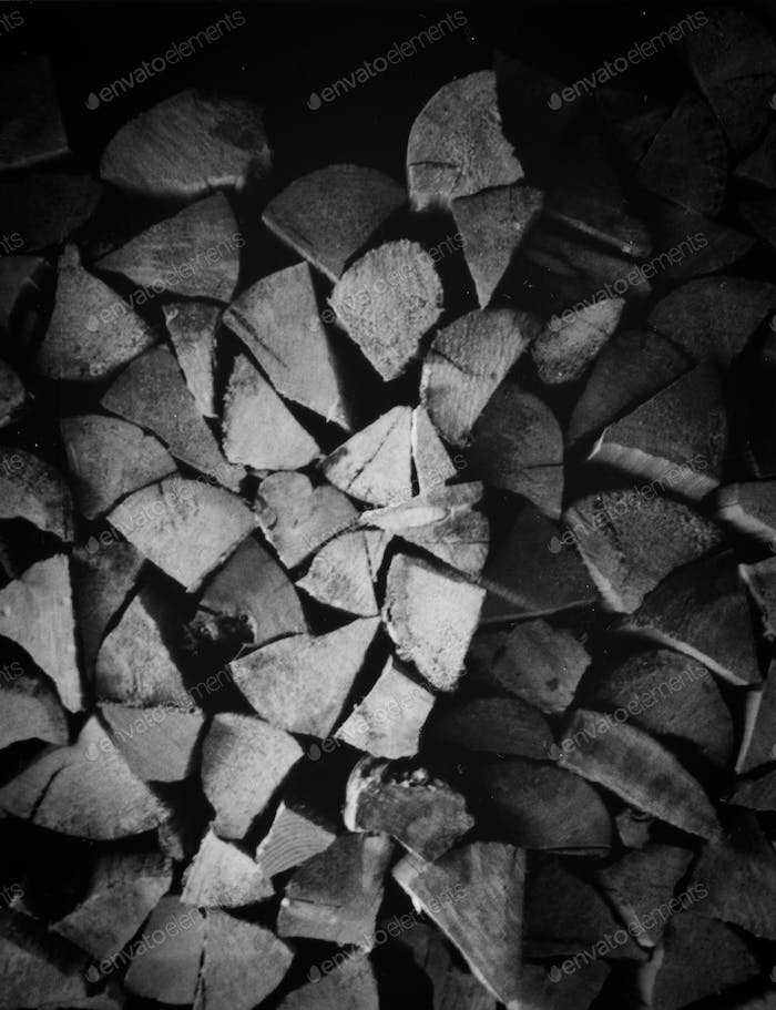 Wood Pile Black and White