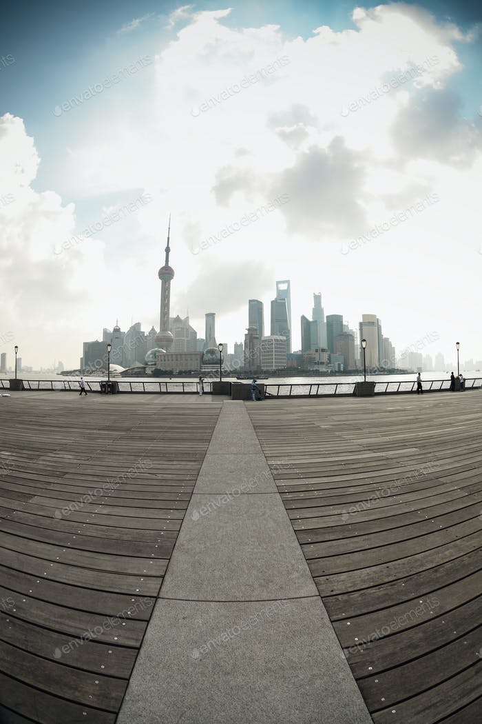 shanghai skyline in fish-eye perspective