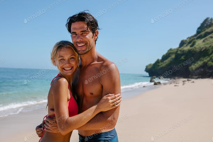 Loving couple on beach vacation