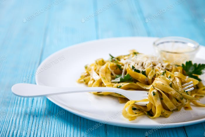 Fettuccine Pasta with sauce. Hot dish