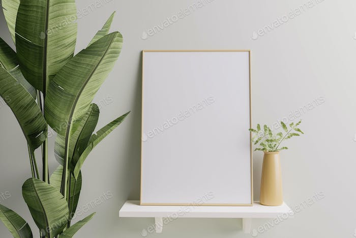 Picture frame placed on the shelf with flower pots.