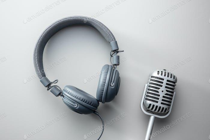 Vintage microphone and headphones.