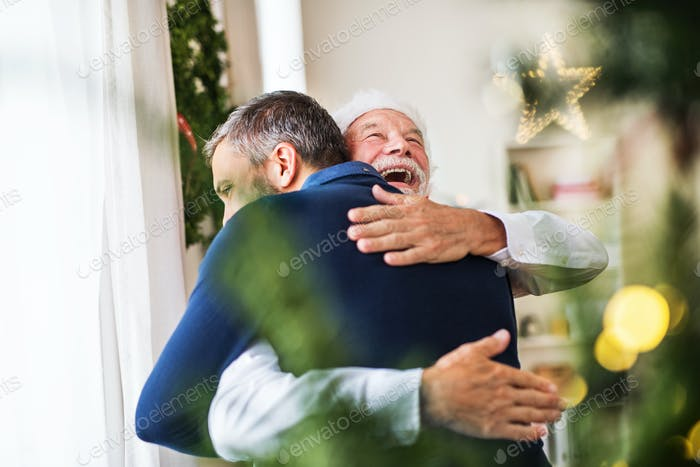 A senior father with a Santa hat and adult son standing by the window, hugging.