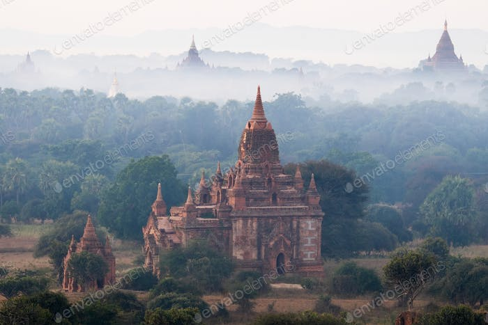 Ancient Buddhist Temples of Bagan Kingdom at sunrise. Myanmar