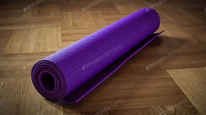 Yoga mat on floor