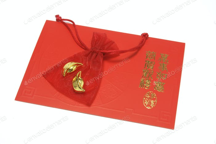 Gold Ingots in Sachet on Chinese Greeting Card