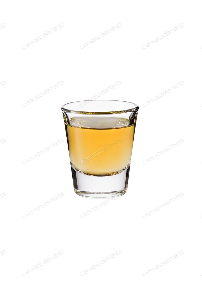 Refreshing Whiskey Shot Glass on White