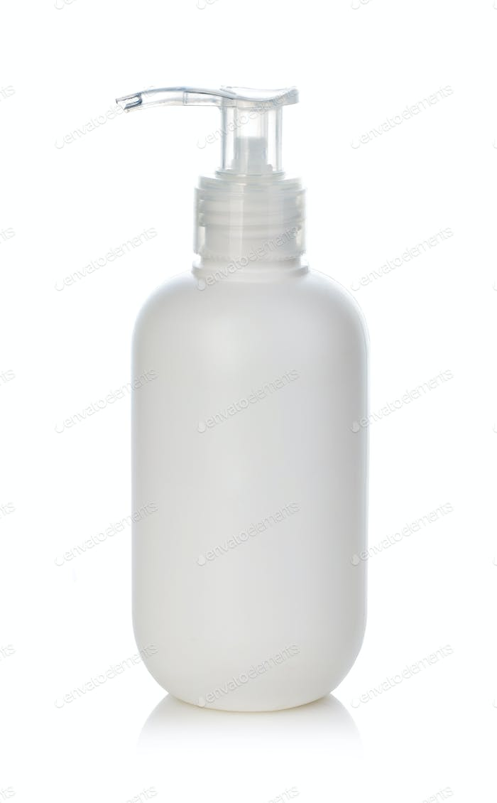 Hand sanitizer bottle close-up isolated on a white background. Anticoronavirus concept.
