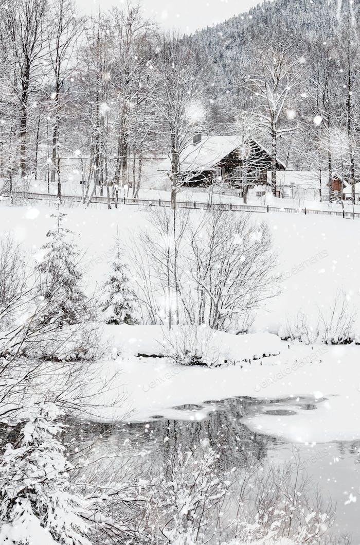 Winter Snowy Bavarian Alpine landscape