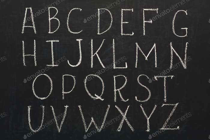English abc written by chalk on blackboard