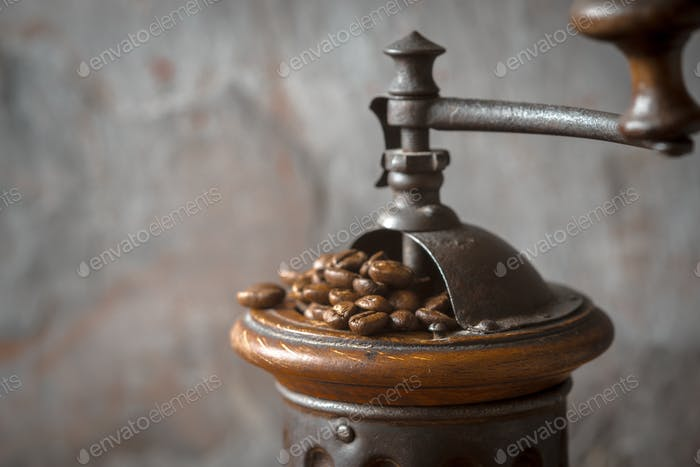 Coffee mill with coffee beans horizontal