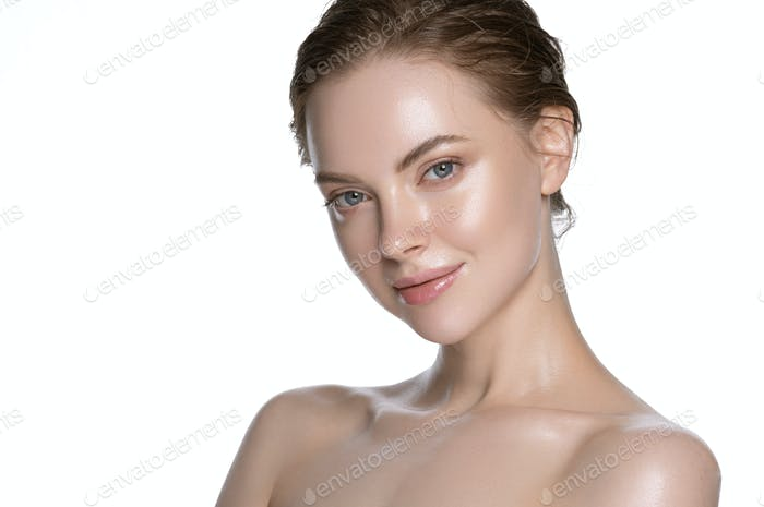 Fresh woman healthy hydration clean skin face. Naked neck and shoulders. Isolated on white.
