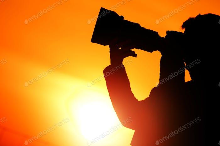 Photographer Sunset Silhouette