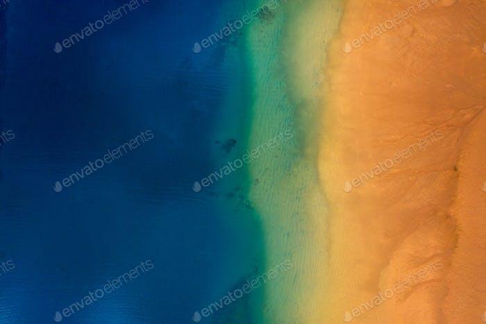 Aerial view of the golden sand of the beach Las Teresitas, Tenerife, Canaries, Spain