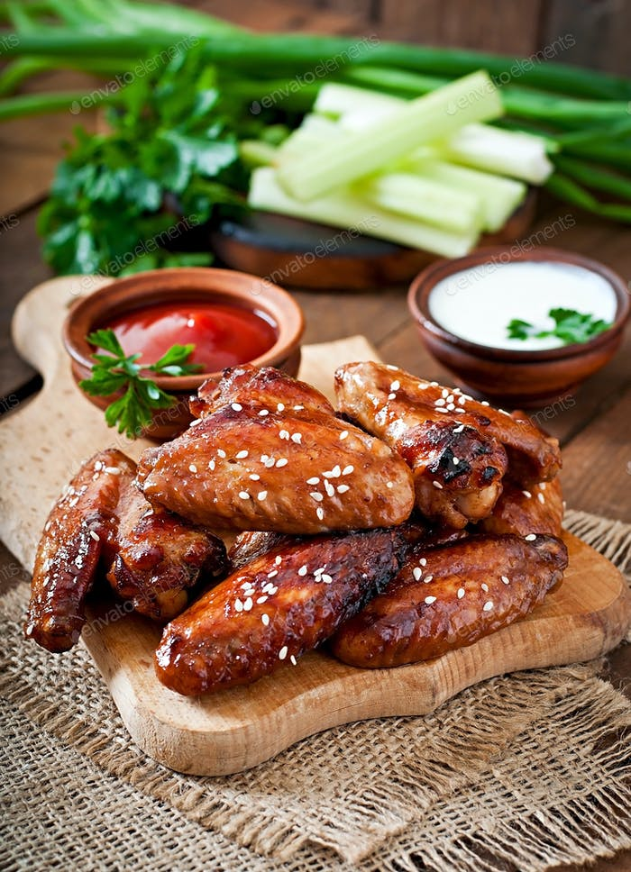 Baked chicken wings with teriyaki sauce