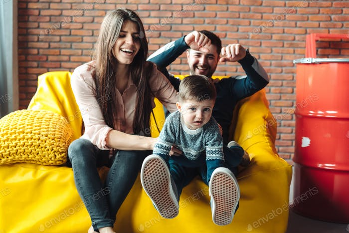 Young family having fun