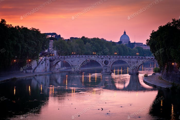 Panoramic view of St. Peter's Basilica and the Vatican City (wit