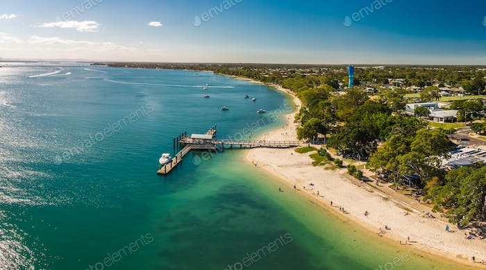 Aerial view of Bongaree Jetty on Bribie Island, Sunshine Coast,