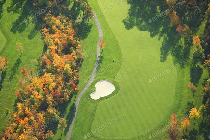 Aerial View of Golf Course During Fall