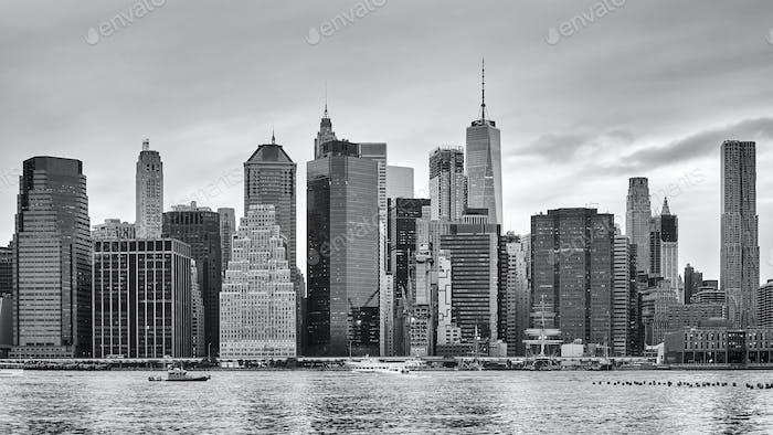 Black and white photo of Manhattan, New York, USA.