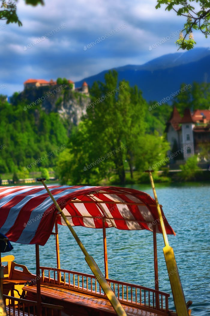 Traditional wooden boats, Bled Lake, Slovenia