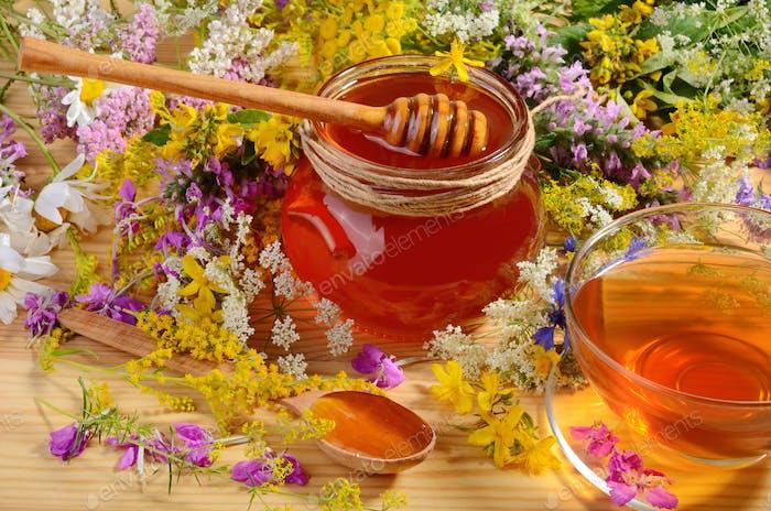 Glass jat of honey