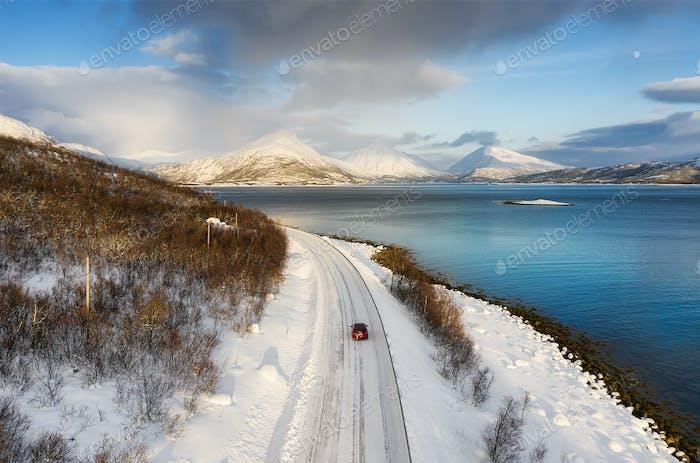 Fahrt mit dem Auto durch Norwegen.