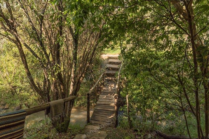Pedestrian bridge at the Sani Backpackers Lodge near Himeville