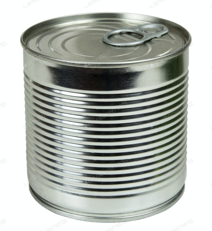 Metallic food can isolated