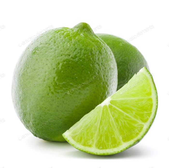 Zitrus-Limettenfrucht isoliert auf weißem Hintergrund Ausschnitt