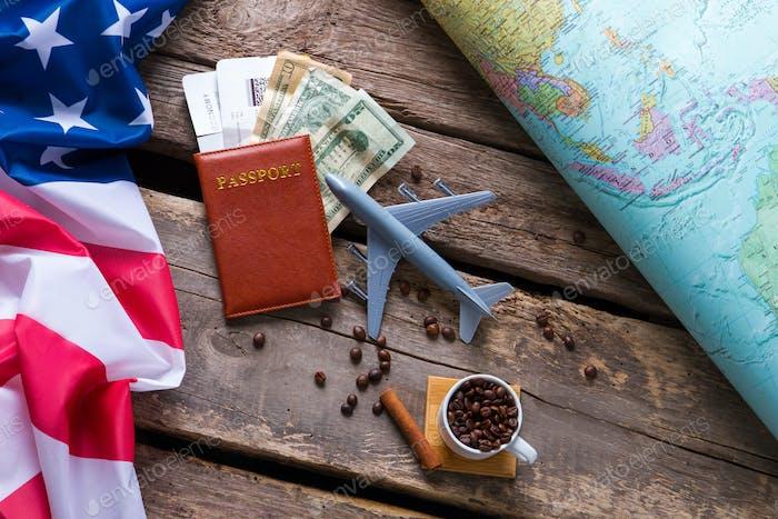 Passport near USA flag