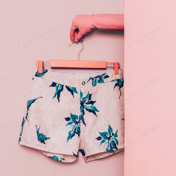 Stylish clothes. Minimal fashion. Shorts floral print. Wardrobe