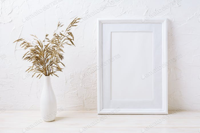 White frame mockup with dried grass in vase