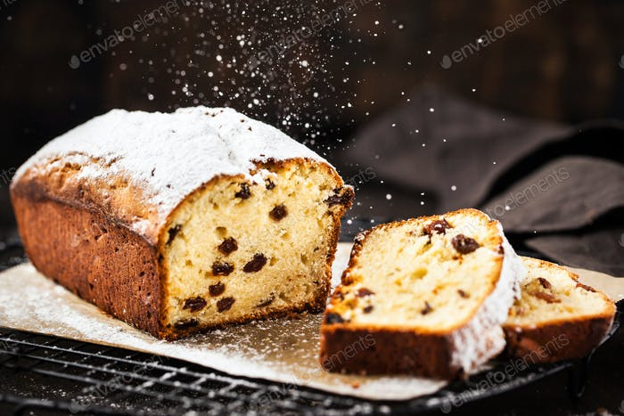 Delicious homemade cottage cheese and raisins loaf cake