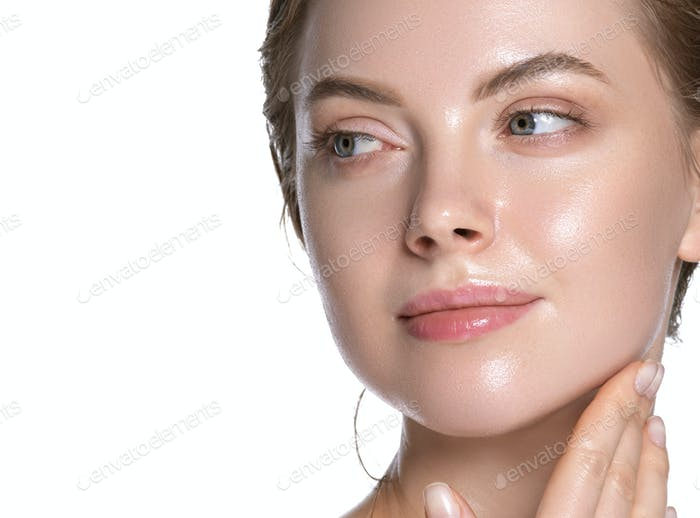 Beauty close up view touching chin young woman healthy hydration clean skin face. Isolated on white