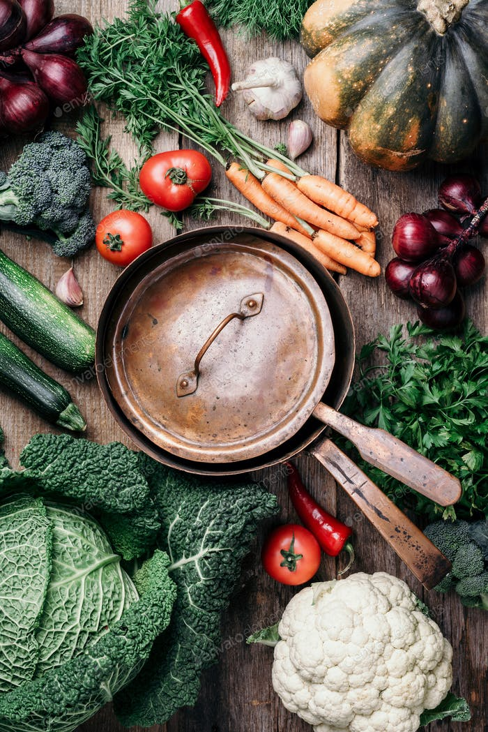 Vegetarian cooking ingredients. Autumn harvest fair. Healthy, clean food cooking and eating concept