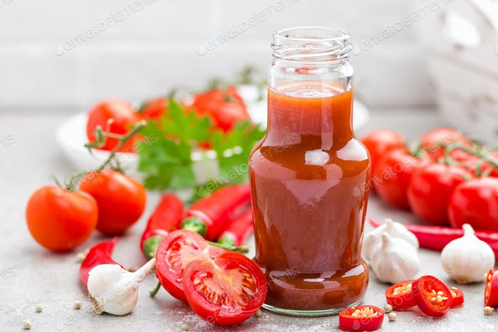 Tomato ketchup, chilli sauce, tomatos puree with chili pepper, tomatoes and garlic