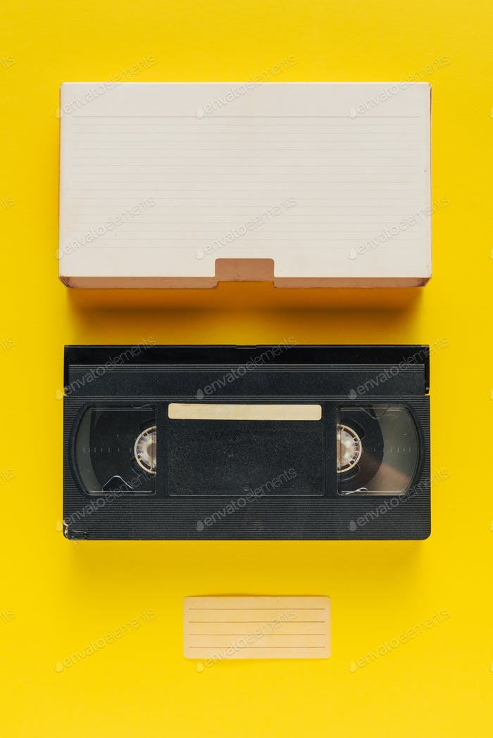 Blank used video casette tape, retro technology
