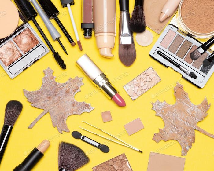 Autumn makeup flatlay
