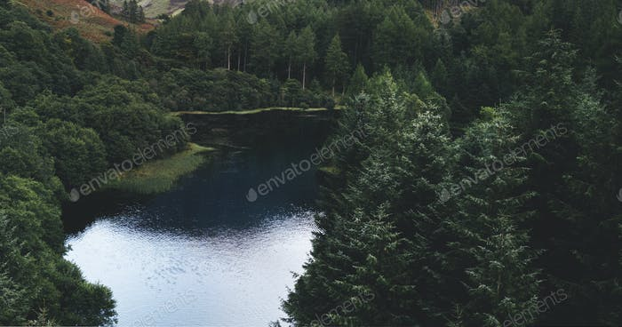 View of a dark river in the Scottish Highlands