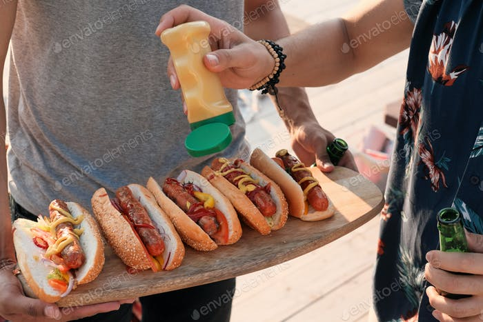 Hot dogs at a party